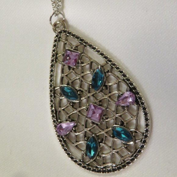 Paparazzi Teal and Purple Rhinestones on Silver Necklace Set with Earrings (PK8)